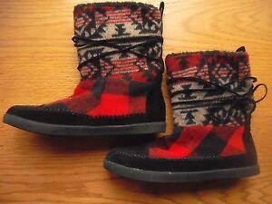 Womens/Teens Steve Madden Girl Boots Jackmen Native American Red Black Sz:6.5