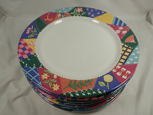 Image Is Loading Set Of 7 Dinner Plates CRAZY QUILT 103
