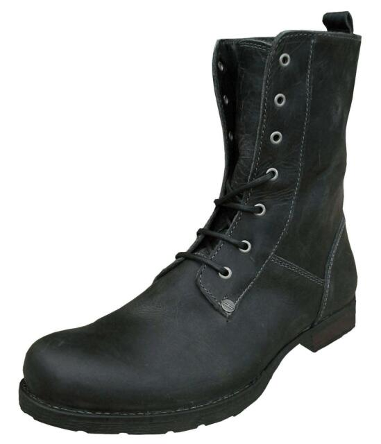 Henleys Men's Scholar Leather Vintage Weathered Military Fashion Boots black