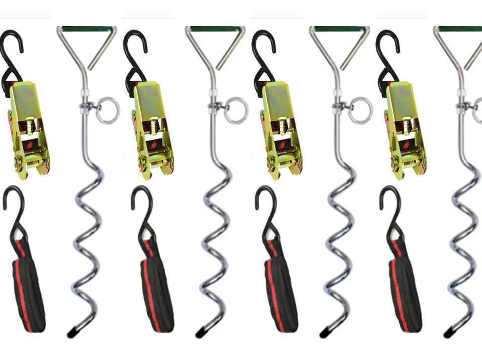12 x ANCHOR STAKES 10 x RATCHET STRAPS NEW