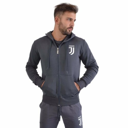 Felpa Juventus con cappuccio chiusura full zip 2 tasche lateraliuomo grigio ...
