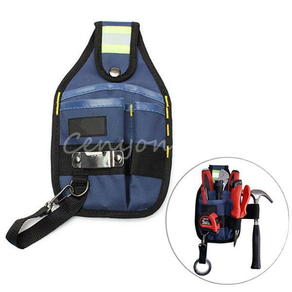 3 Pocket Professional Electrician Clip On Tool Belt Bag Pouch w/ Tape Buckle