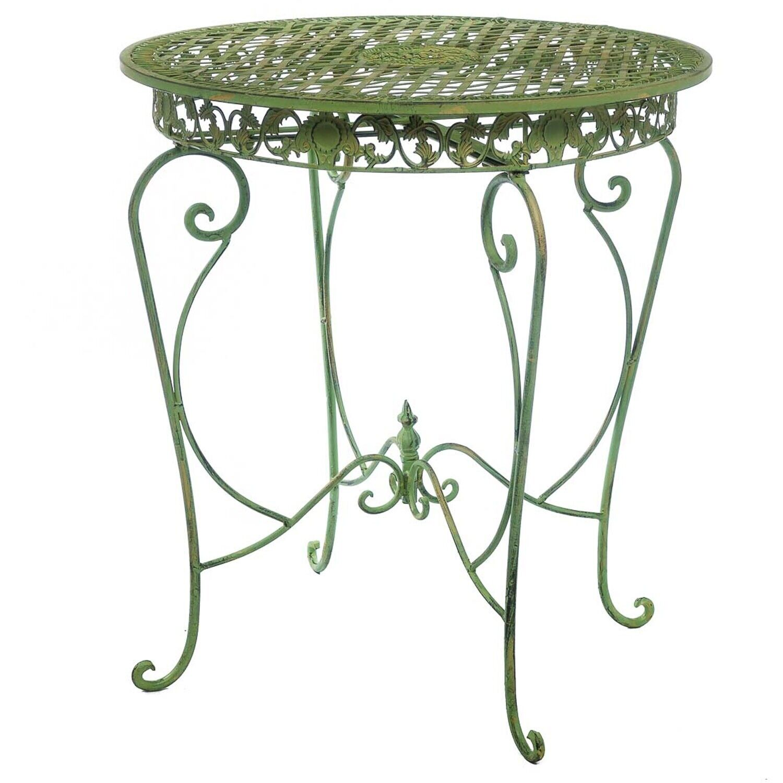Gartentisch in hellem creme grün Tisch Garten Eisen antik Stil garden table iron