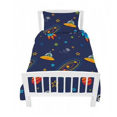 Single Bed Size Duvet Cover Set Space Boy Planets Rocket & Pillowcase Children's