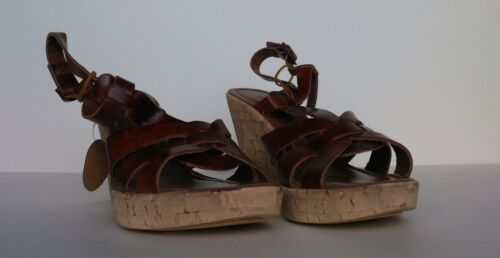 Ladies Brown Leather Upper Strap Wedge Summer Shoes Womens Sizes  5 6 /& 7