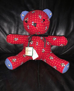 NEW-Vera-Bradley-Fred-Bear-in-Provincial-Red-Quilted-Cotton-10-034-Teddy-NWT