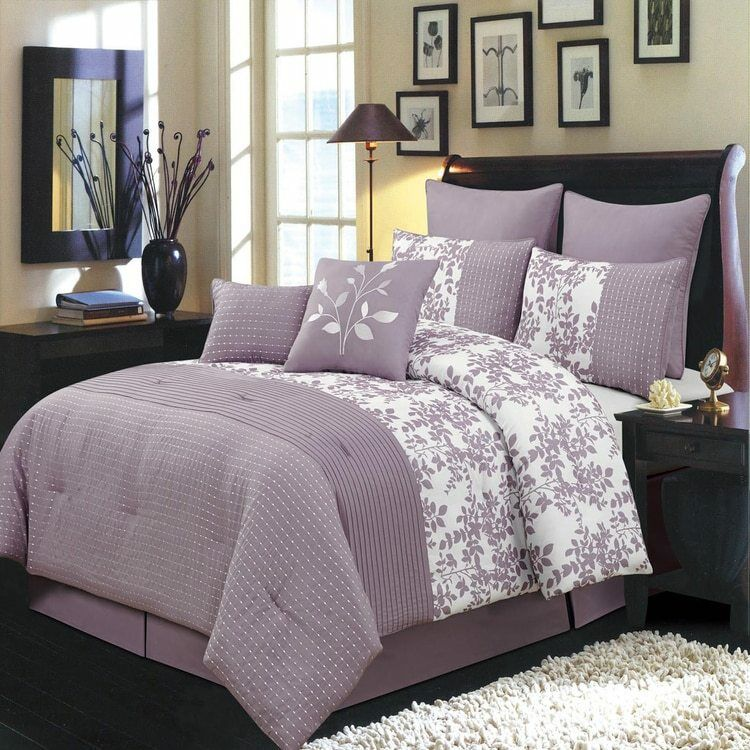 Purple Bliss Floral Polyester 6-8-Piece Complete Wrinkle-Free Comforter Sets