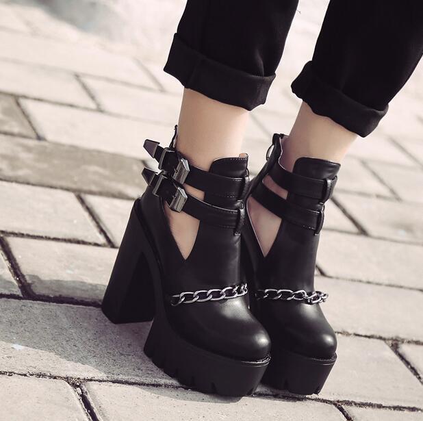 Cadena Para Mujer Correa Hebilla Gótico Tacones Gruesos Plataforma botas al Tobillo Zapatos R704
