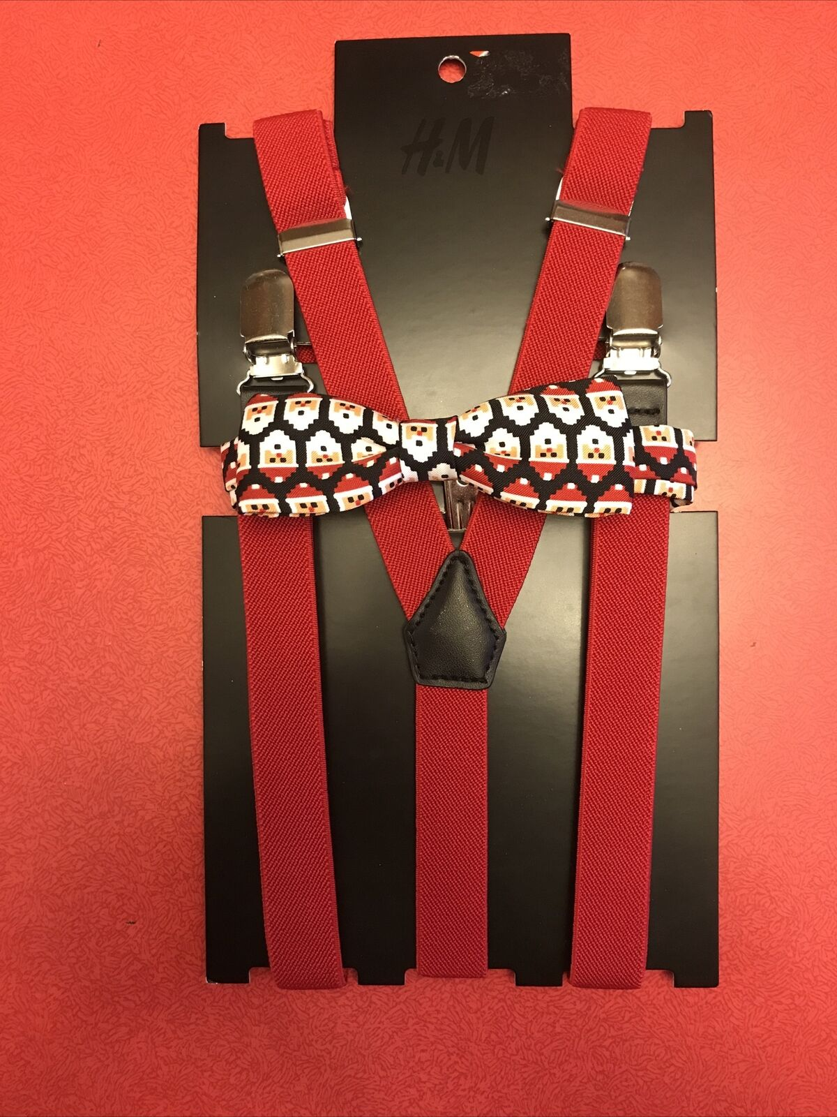 H&M Mens Braces Red Classic Clip on Trousers + Santa Christmas Bow Tie NWT