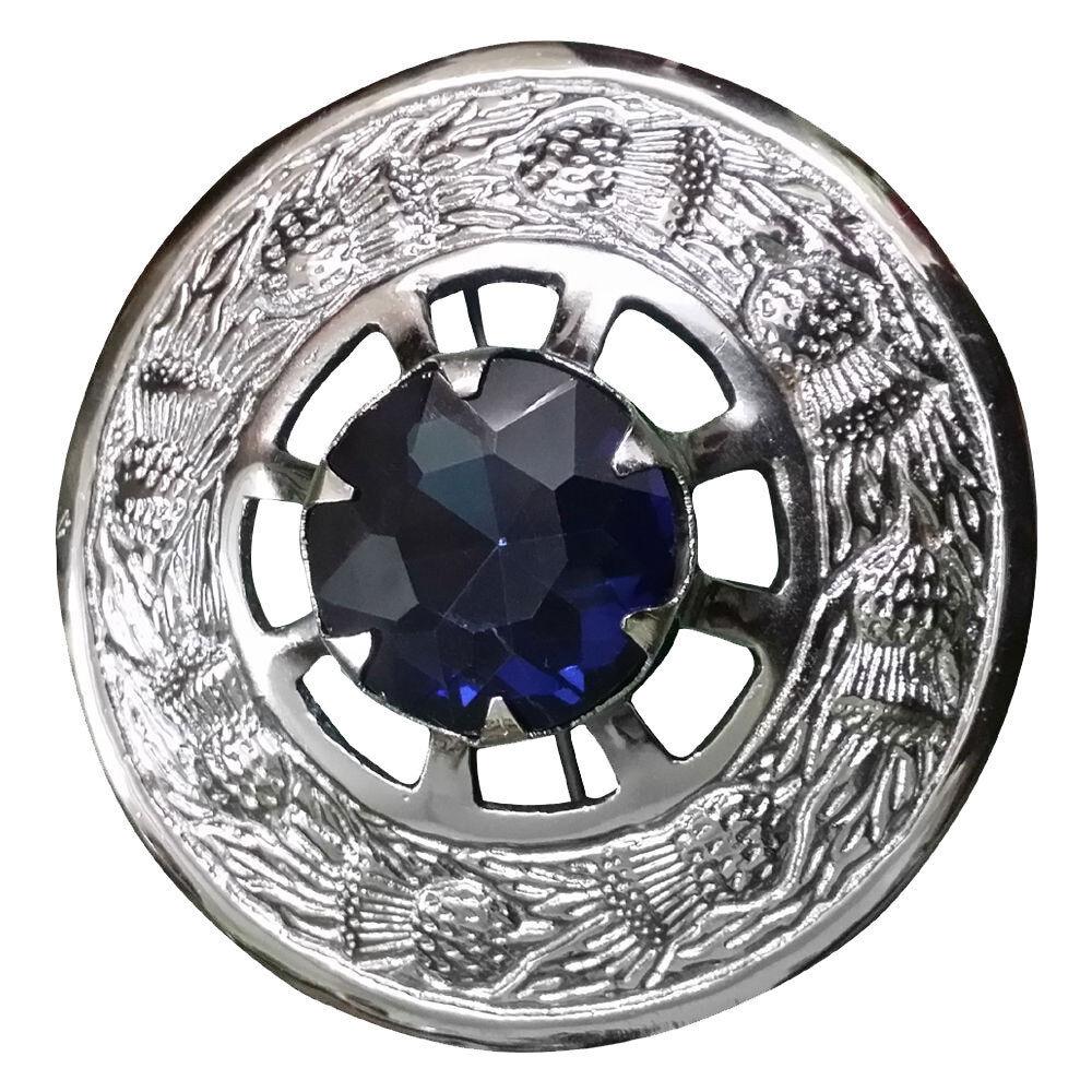 Men's Scottish Kilt Fly Plaid Brooch Blue Stone Chrome Finish 3