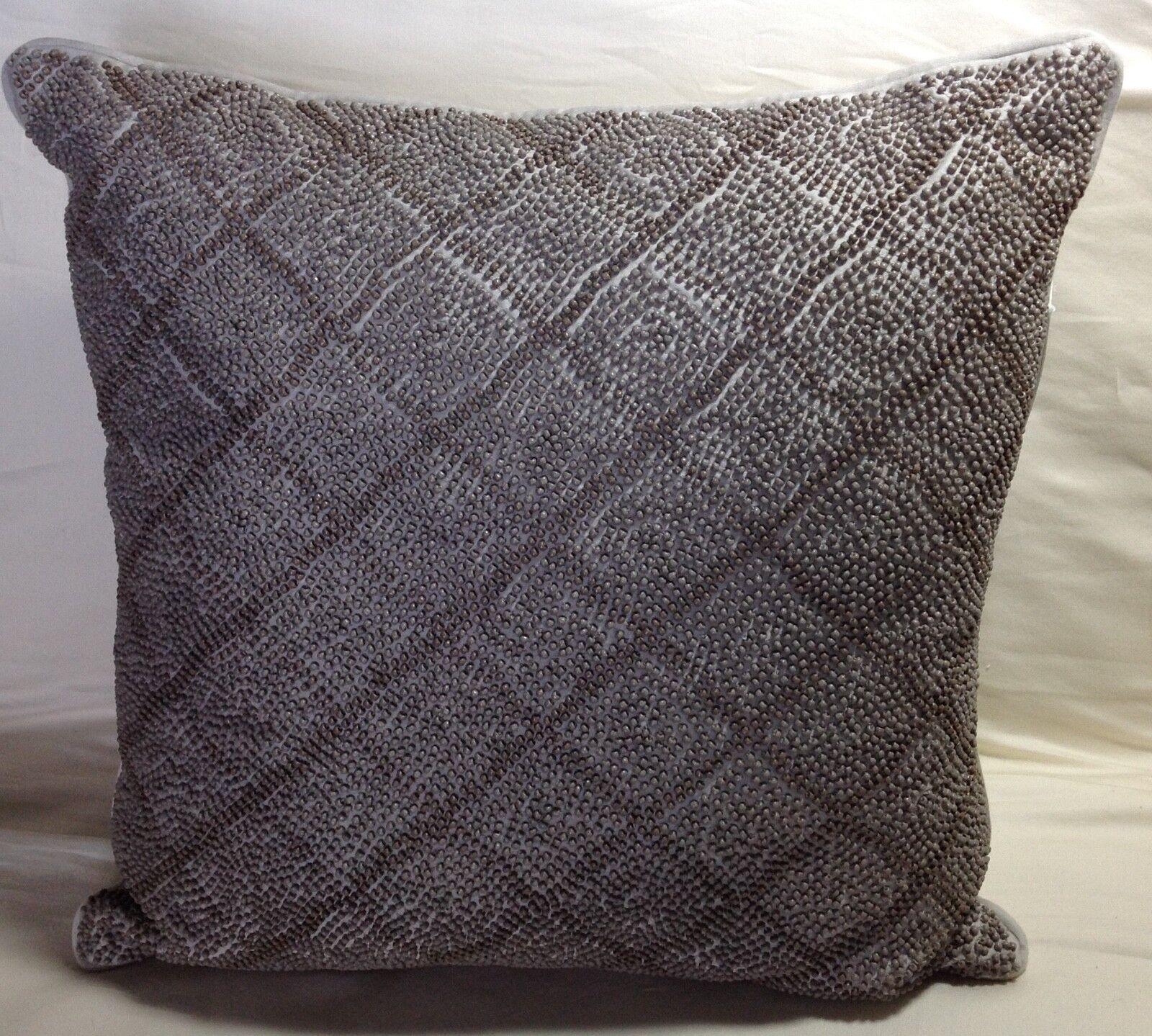 1872 Bloomingdale's Multi Beaded Decorative Pillow 18 x 18 Bronze Retail  260