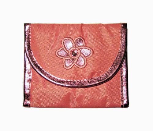 Girls Metallic Tri-Fold Wallets With Flower Design Pink
