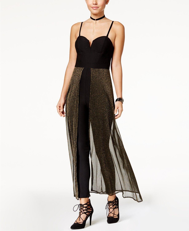 Material Girl Size XL Jumpsuit Split-Front Metallic-Mesh Womens Jumpsuit NEW  64