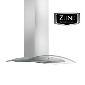 Details About 42 New Zline Wall Mount Range Hood Stainless Steel And Gl Led Kn4