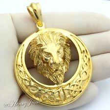 MEN's Stainless Steel Gold HEAVY LION KING FACE 3D Charm Pendant*GP49