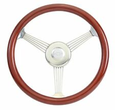 "Chevy 15"" Mahogany Banjo Steering Wheel with Stainless Steel Spokes"