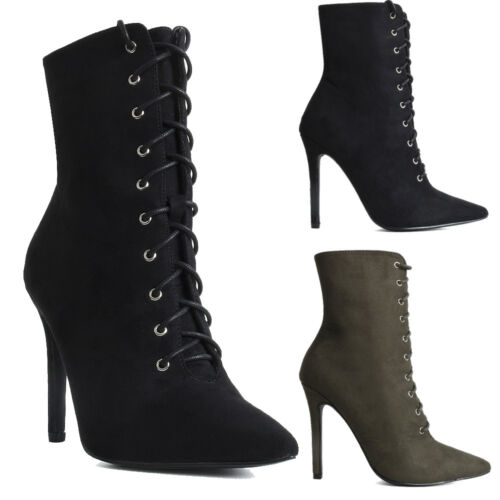 Womens Ladies High Heel Stiletto Lace Up Pointed Toe Ankle Boots Shoes Size