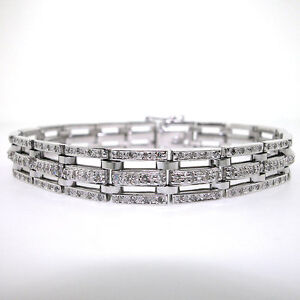 da2a8d01c35 14k White Gold Men s Triple Row Diamond Bracelet 3.18 CTS- Mens ...