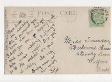 Miss Grace Saunders Richmond House Bushy Grove Watford 1908 501a