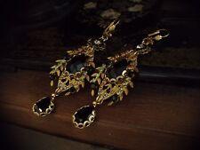 Vintage Gold Leaf Jet Black & Peridot Crystal Drop Earrings Miriam Haskell Style