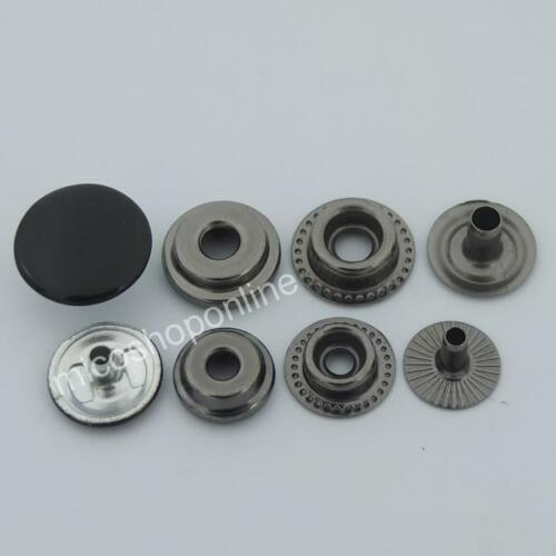 "1//2/"" 5//8/"" 12 mm 15 mm Bouton Snap cuir rapide Rivet Attaches Pitch-Black 10 25"