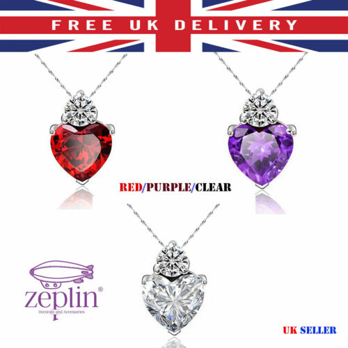 Red Heart Pendant Crystal Silver /& Purple Fashionable Necklace Jewellery Elegant