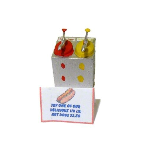 Dollhouse Handcrafted Diner Mustard /& Ketchup Dispenser Doll House Miniatures