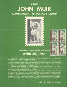 #1245 5c John Muir Naturalist Stamp Poster- Unofficial Souvenir Page FD B4