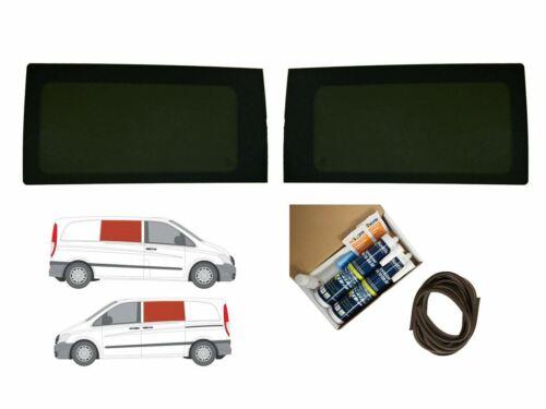 03-14 Twin Dark Tint Fixed Windows Pair Adhesive Trim Kit for Mercedes Vito