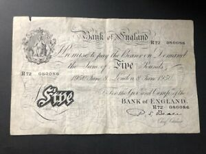 White Fiver - Five Pounds Note. 8th June 1950 - Beale - Very Good Condition