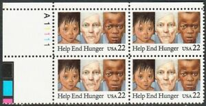 Scott-2164-1985-Commemoratives-22-cents-Help-End-Hunger-Plate-Block