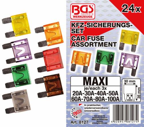 24 tlg MAXI Kfz Sicherungen Flachsicherung Autosicherung Set 20A 100A B8127