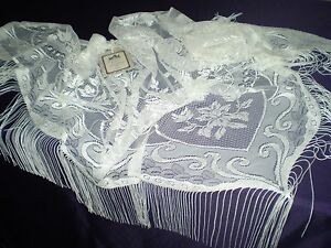 "Heritage Lace Lady Mary 80"" x 38"" Shawl with fringe Clipped Embroidery Pearl"