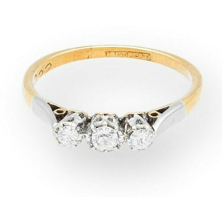 VINTAGE 18Ct Giallo oro oro oro & Platino Diamante a tre pietra anello (0.15ct) (Taglia K 1 2) 7009d1
