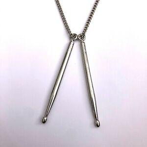 Punk Rock Metal Music Musician Large Drum Sticks Drumsticks Pendant Necklace