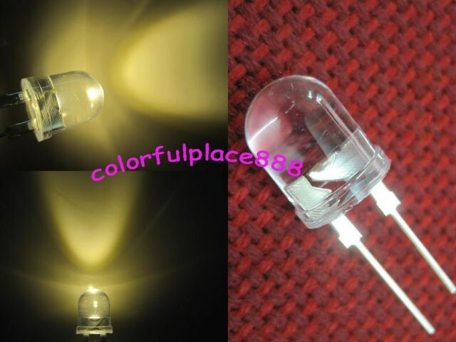 20 x 10mm 0.5W Warm White 220,000MCD 40° Large Chip Ultra Bright Water Clear LED