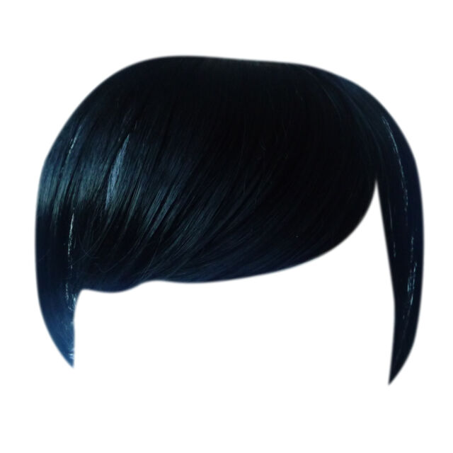 Fringe Bang Clip In On Hair Extensions Straight Jet Black 1 Front Ebay
