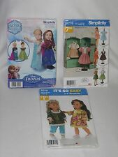 Simplicity Sewing Patterns 18 inch Doll Clothes Lot of 3 S0118 W0747 S0111