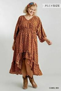 Umgee Floral Peasant Dress Burgundy Red Floral Plus Size XL 1X 2X