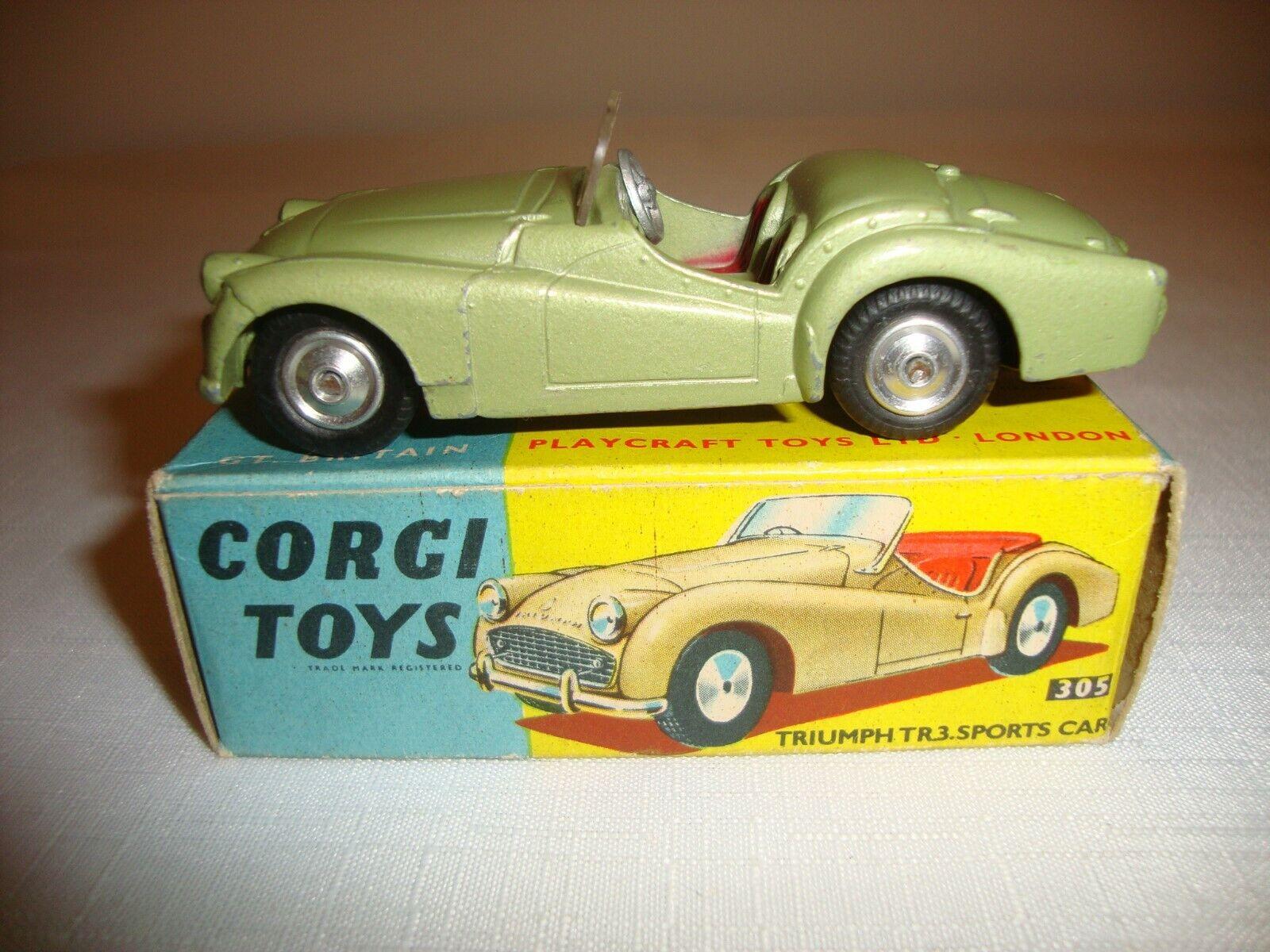 CORGI CORGI CORGI 305 TRIUMPH TR3 SPORTS CAR (SHAPED HUBS) - EXCELLENT in original BOX 712