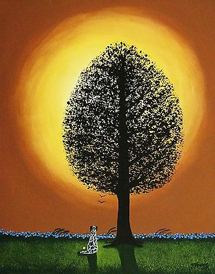 Catahoula catahoola Leopard Dog TREE Outsider Folk Art PRINT Todd Young SUNSET