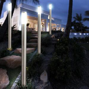 4 x Garten Steh-Lampen Haus Einfahrt Außen-Beleuchtung Edelstahl Stand-Leuchten