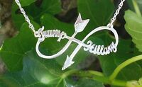 Personalized Infinity Arrow 2 Name Necklace Sterling Silver Infinity