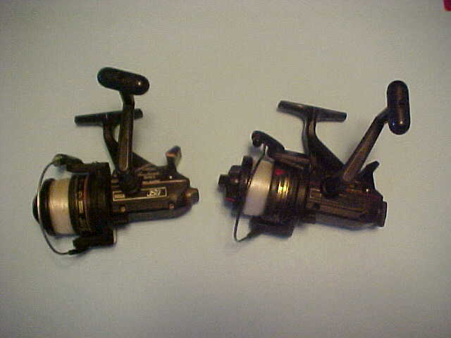 PAIR OF 2 SHIMANO TRITON BAITRUNNER SPINNING REELS, PLUS 3500 AND 350, PRE-OWNED