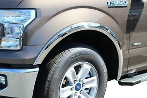 FORD F-150 2015-2017 STAINLESS STEEL FENDER TRIM MOLDING SET W//O FLARES