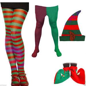 Nueva camiseta para hombre Regalo De Navidad Elf Sombrero Zapatos Rojo Verde Calzas Accesorios Set