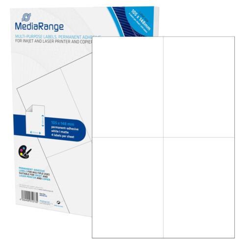 Größe 50 Blatt DIN A4 105 x 148mm 200 MediaRange Etiketten