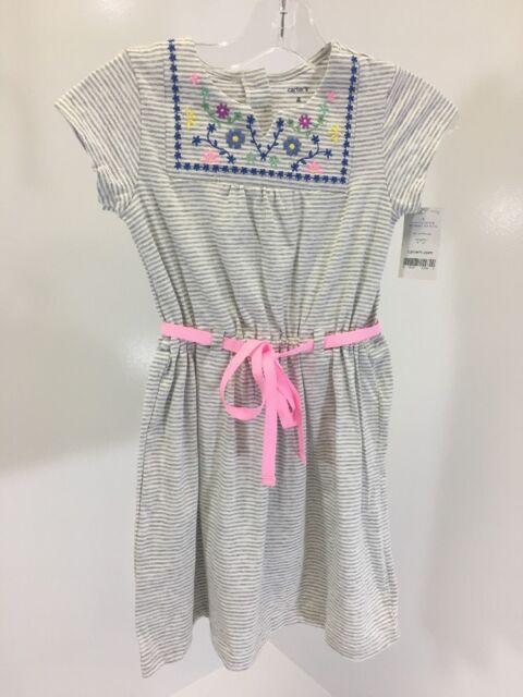 32432e5e12f7 Carter s Toddler Girls Striped Swing Dress Heather Gray white Sz 4 ...