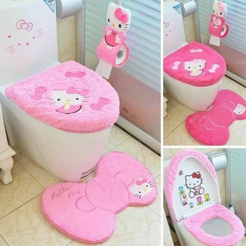 Hello Kitty Cute Bathroom Toilet Seat Lid Cover Bath Mat Holder Tissue Holder