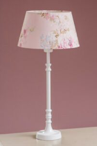 Country Table Lamp with Pink Floral Shade